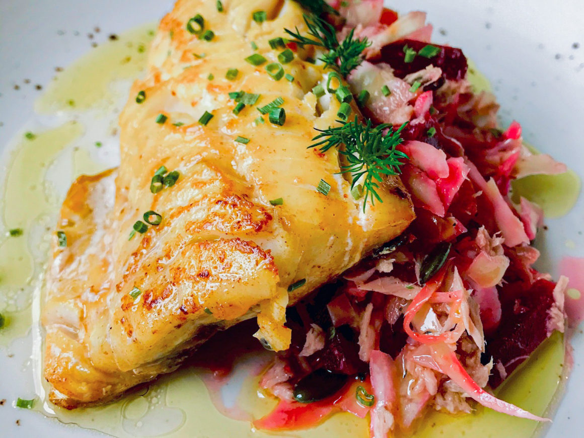 grilled fish with coleslaw salad